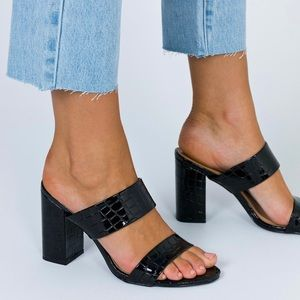 Princess Polly Black Croc Heels